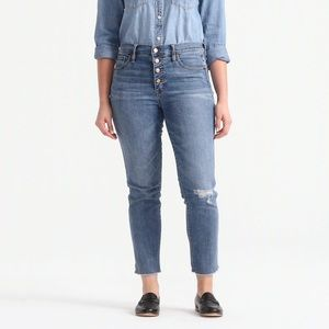 j.crew  high rise vintage straight w button fly 31